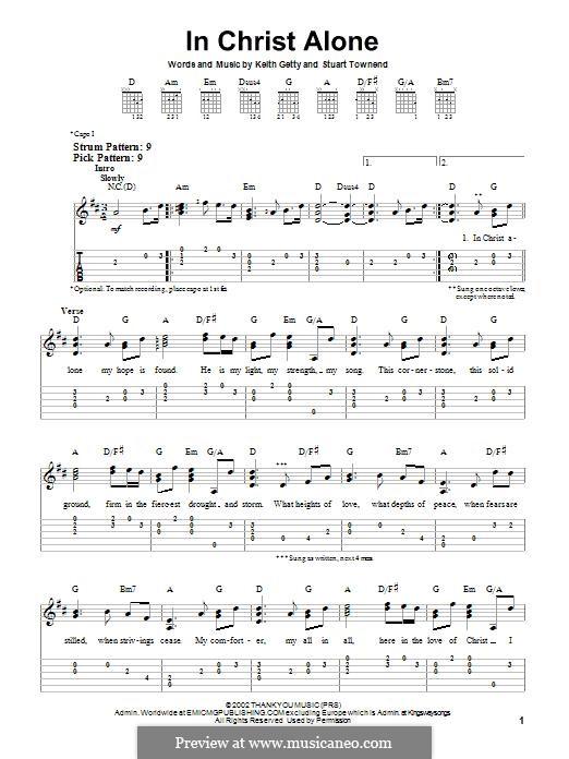 In Christ Alone (Newsboys): Für Gitarre mit Tabulatur by Keith Getty, Stuart Townend