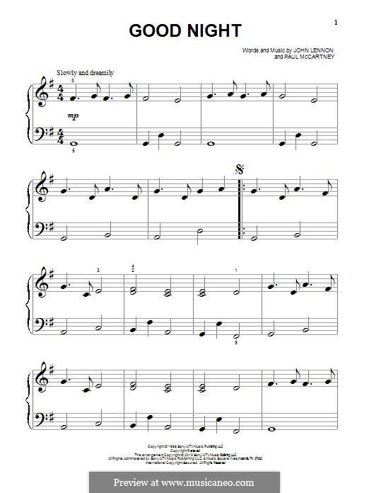 Good Night (The Beatles): Für Klavier by John Lennon, Paul McCartney