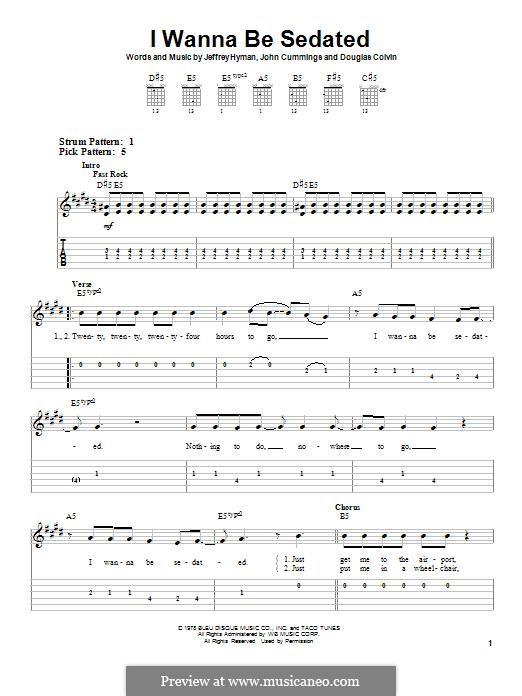 I Wanna Be Sedated (Ramones): Für Gitarre by Dee Dee Ramone, Jeffrey Hyman, John Cummings