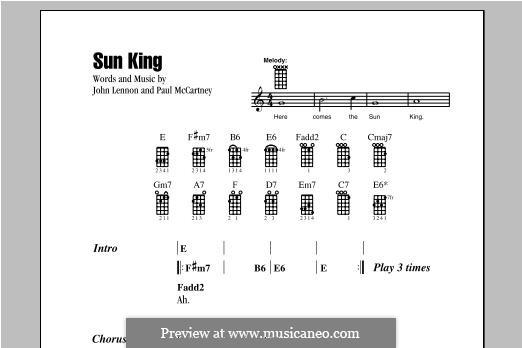 Sun King (The Beatles): Für Ukulele by John Lennon, Paul McCartney