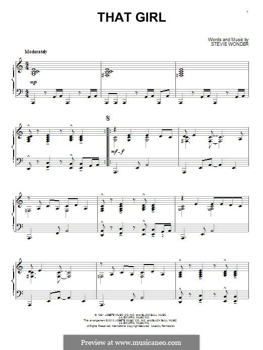 That Girl: Für Klavier by Stevie Wonder
