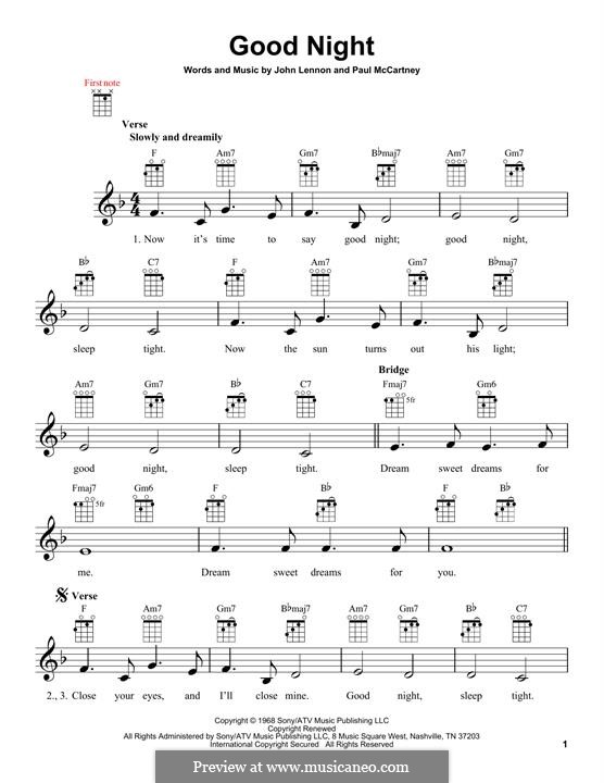 Good Night (The Beatles): Für Ukulele by John Lennon, Paul McCartney