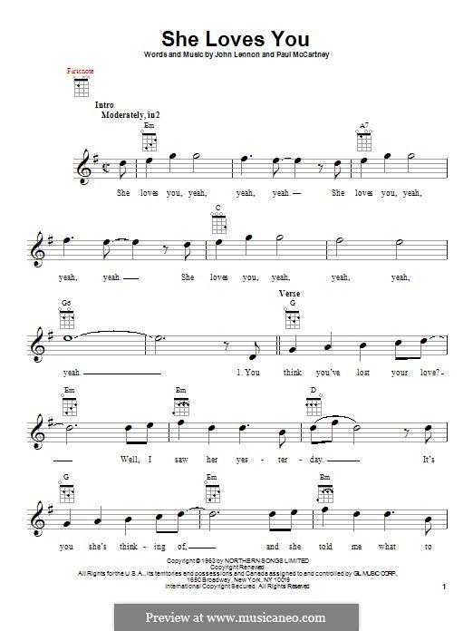 She Loves You (The Beatles): Für Ukulele by John Lennon, Paul McCartney