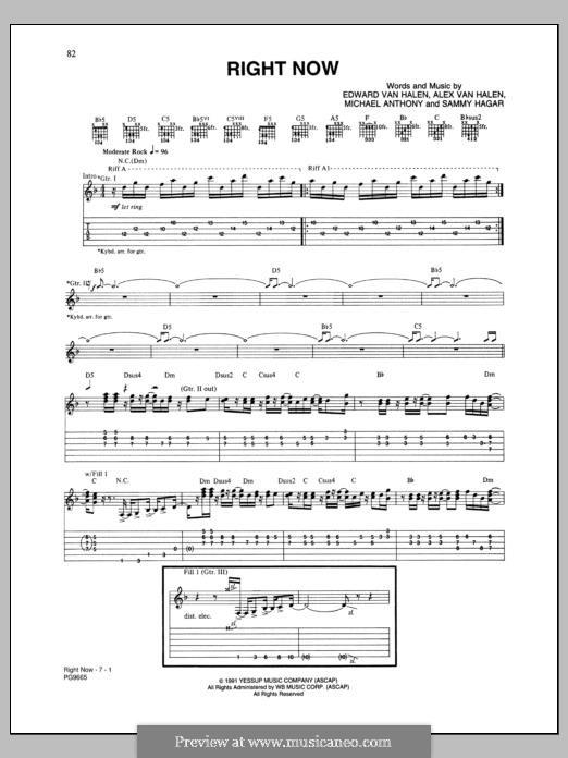 Right Now (Van Halen): Für Gitarre by Alex Van Halen, Edward Van Halen, Michael Anthony, Sammy Hagar