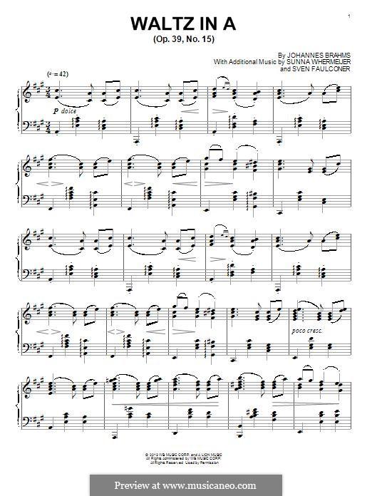 Walzer in G-Dur, Op.39 No.15: Für Klavier by Johannes Brahms