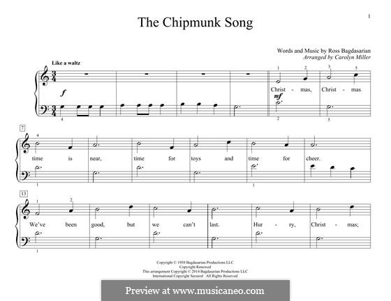 The Chipmunk Song (Alvin and the Chipmunks): Für Klavier by Ross Bagdasarian