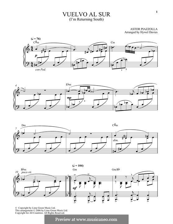 Vuelvo Al Sur: Für Klavier by Astor Piazzolla