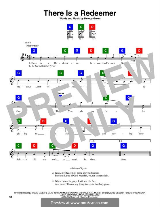 There Is a Redeemer: Melodische Linie by Keith Green, Melody Green