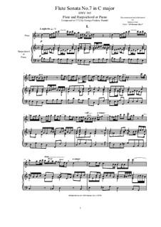 Sonate für Flöte und Cembalo in C-Dur, HWV 365 Op.1 No.7: Partitur, Solostimme by Georg Friedrich Händel