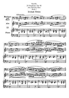 Vierundzwanzig Vokalisen für Alt, Bariton und Bass, Op.81: Für Alt, Bariton und Bass. Heft II by Heinrich Panofka