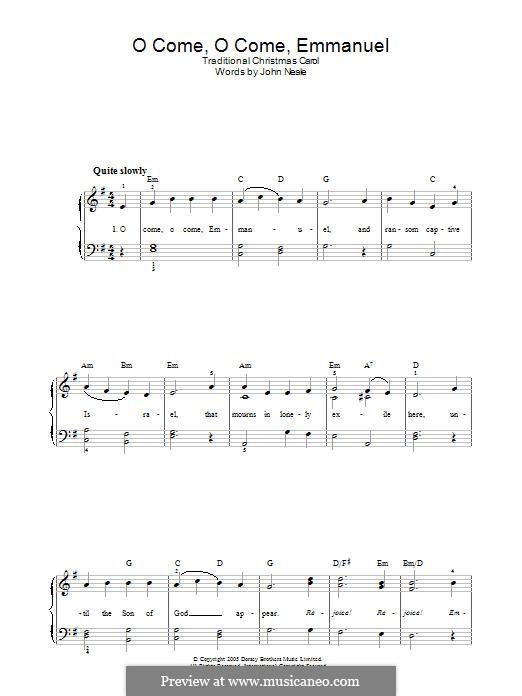 O Come, O Come, Emmanuel: Für Stimme und Klavier (oder Gitarre) by folklore