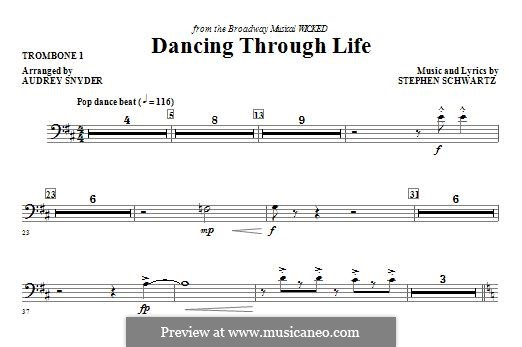 Dancing Through Life (from Wicked): Trombone 1 part by Stephen Schwartz