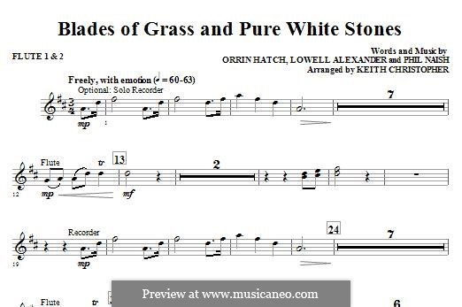 Blades of Grass and Pure White Stones: Flute 1 & 2 part by Lowell Alexander, Phil Naish, Orrin Hatch