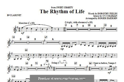 The Rhythm of Life (from Sweet Charity): Bb Clarinet part by Cy Coleman