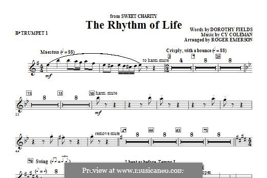 The Rhythm of Life (from Sweet Charity): Bb Trumpet 1 part by Cy Coleman