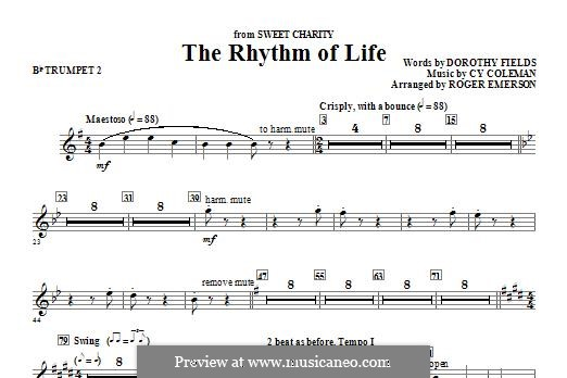 The Rhythm of Life (from Sweet Charity): Bb Trumpet 2 part by Cy Coleman