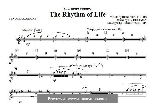 The Rhythm of Life (from Sweet Charity): Bb Tenor Saxophone part by Cy Coleman