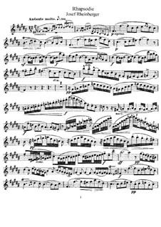 Rhapsodie für Flöte und Klavier: Solostimme by Josef Gabriel Rheinberger