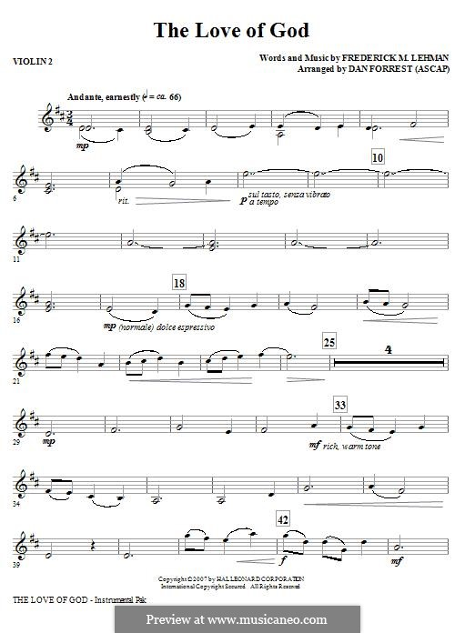 The Love of God: Violin 2 part by Frederick M. Lehman