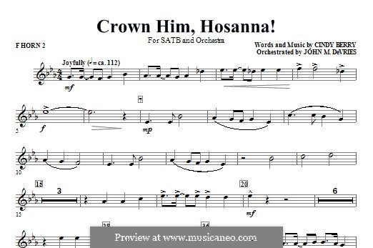 Crown Him Hosanna: F Horn 2 part by Cindy Berry