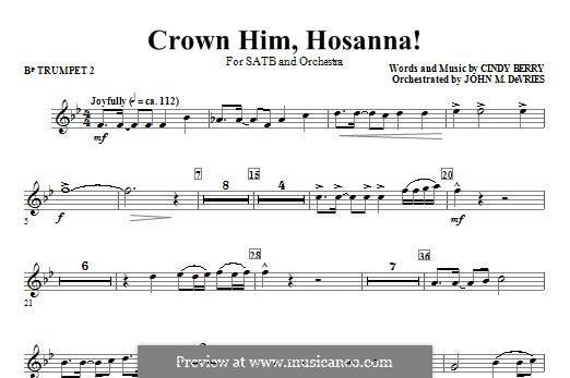 Crown Him Hosanna: Bb Trumpet 2 part by Cindy Berry