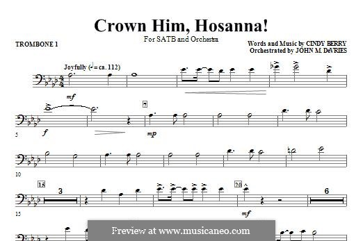 Crown Him Hosanna: Trombone 1 part by Cindy Berry