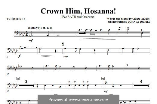 Crown Him Hosanna: Trombone 2 part by Cindy Berry