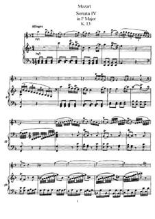 Sonate für Violine (oder Flöte) und Klavier Nr.8 in F-Dur, K.13: Partitur by Wolfgang Amadeus Mozart