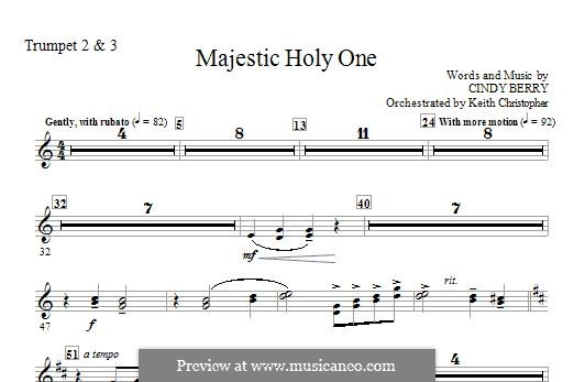 Majestic Holy One: Bb Trumpet 2,3 part by Cindy Berry