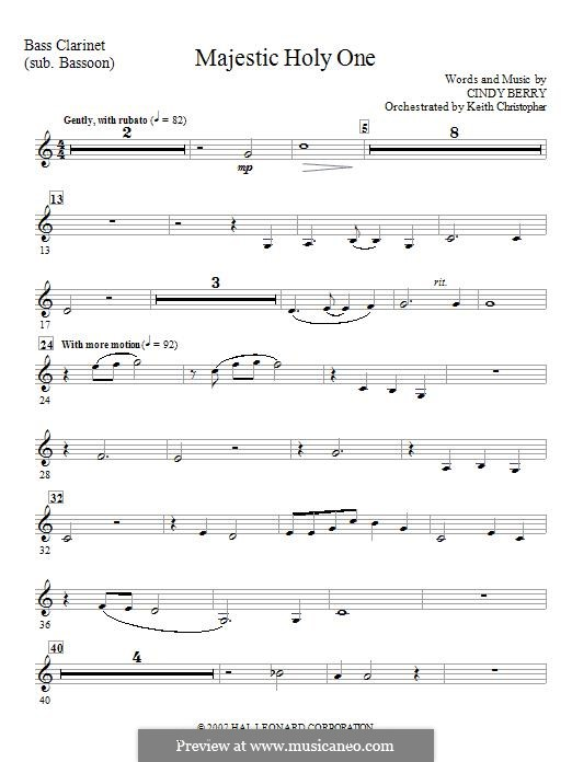 Majestic Holy One: Bass Clarinet (Tuba sub) part by Cindy Berry