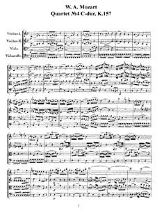 Streichquartett Nr.4 in C-Dur, K.157: Vollpartitur, Stimmen by Wolfgang Amadeus Mozart