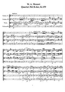 Streichquartett Nr.6 in B-Dur, K.159: Vollpartitur, Stimmen by Wolfgang Amadeus Mozart
