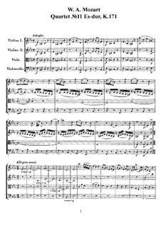 Streichquartett Nr.11 in Es-Dur, K.171: Vollpartitur, Stimmen by Wolfgang Amadeus Mozart