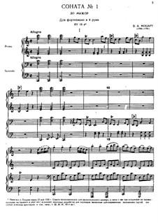 Sonate für Klavier, vierhändig in C-Dur, K.19d: Partitur by Wolfgang Amadeus Mozart