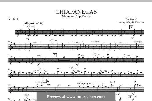 Chiapanecas: Violin 1 part by folklore