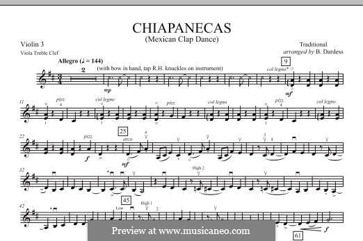 Chiapanecas: Violin 3 (Viola Treble Clef) part by folklore