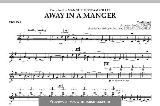 Away in a Manger: Violin 1 part by folklore