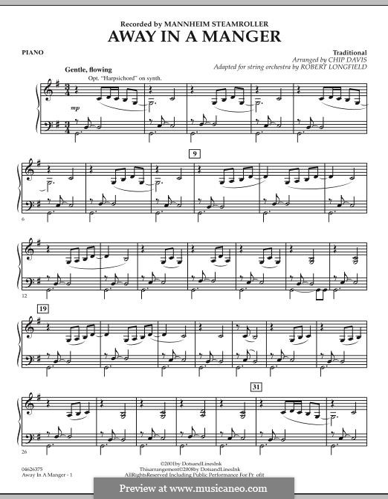 Away in a Manger: Klavierstimme by folklore