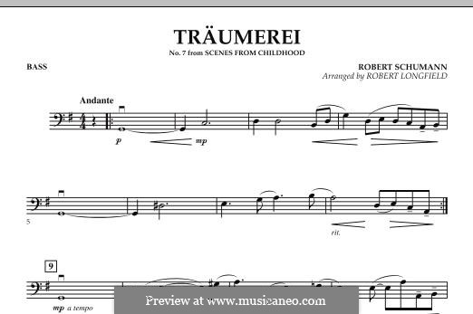 Nr.7 Träumerei: For string orchestra – Bass part by Robert Schumann