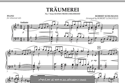 Nr.7 Träumerei: For string orchestra – Piano part by Robert Schumann