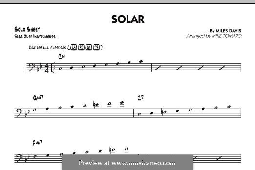 Solar: Bass Clef Solo Sheet part by Miles Davis