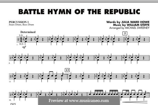 Battle Hymn of the Republic: For ensemble - Percussion 1 part by William Steffe