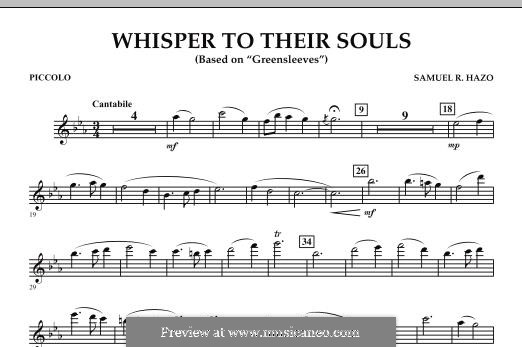 Whisper to Their Souls (based on 'Greensleeves'): Piccolo part by Samuel R. Hazo