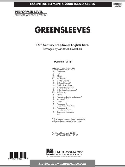 Greensleeves (Printable scores): For ensemble - full score (arr. Michael Sweeney) by folklore