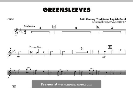 Greensleeves (Printable scores): For ensemble - Oboe part by folklore