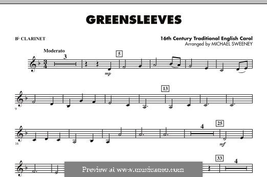 Greensleeves (Printable scores): For ensemble - Bb Clarinet part by folklore