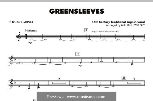 Greensleeves (Printable scores): For ensemble - Bb Bass Clarinet part by folklore