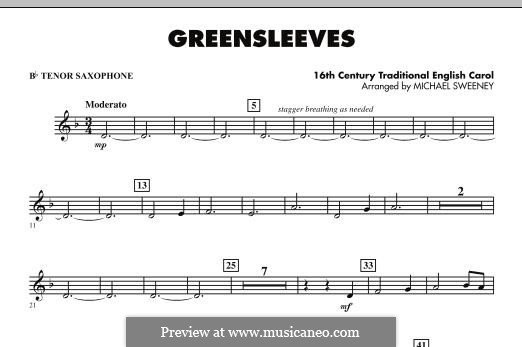 Greensleeves (Printable scores): For ensemble - Bb Tenor Saxophone part by folklore