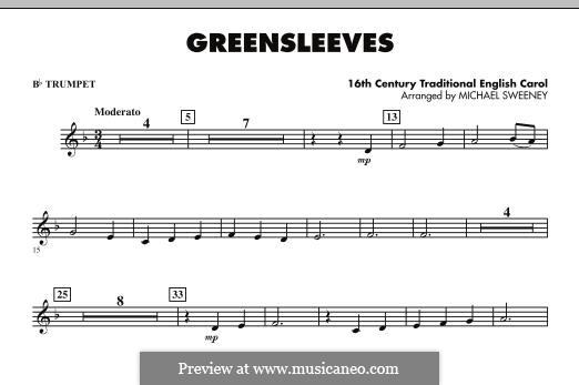 Greensleeves (Printable scores): For ensemble - Bb Trumpet part by folklore