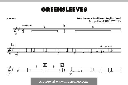 Greensleeves (Printable scores): For ensemble - F Horn part by folklore